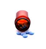 Botle met blauwe pillen Royalty-vrije Stock Foto