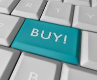 Botón azul del clave de la compra Imagen de archivo