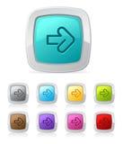 Botón brillante - flecha derecha Imagen de archivo libre de regalías
