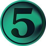 Botón-cinco numérico Fotos de archivo