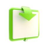 Botón cuadrado con la flecha brillante Imagen de archivo