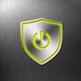 Botón de aluminio del blindaje de la potencia encendido Imagenes de archivo