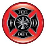 Botón de la cruz maltesa del cuerpo de bomberos Imagenes de archivo