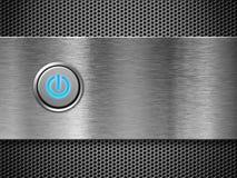 Botón de la potencia en la rejilla de plata Imágenes de archivo libres de regalías
