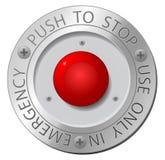 Botón de paro rojo Fotografía de archivo libre de regalías