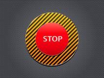 Botón de paro rojo en el panel de la raya Foto de archivo libre de regalías