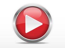 Botón de reproducción rojo Fotos de archivo libres de regalías