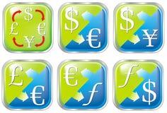botón del color del intercambio de dinero en circulación Imagen de archivo libre de regalías