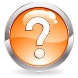 Botón del lustre con el signo de interrogación Imagen de archivo libre de regalías