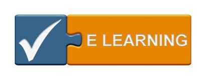 Botón del rompecabezas: eLearning Imagen de archivo