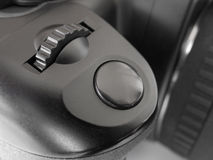 Botón en cámara de la foto Imagen de archivo