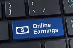 Botón en línea del teclado de ordenador de las ganancias. Imágenes de archivo libres de regalías