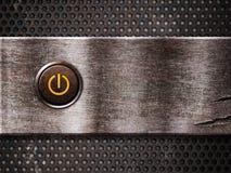 Botón oxidado de la potencia encendido Foto de archivo
