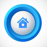 Botón redondo del hogar plástico azul del vector Foto de archivo