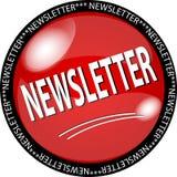 botón rojo del boletín de noticias Fotografía de archivo libre de regalías