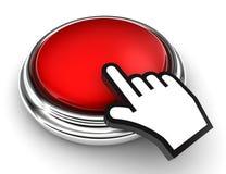 Botón rojo y mano vacíos del puntero Imagen de archivo libre de regalías