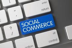 Botón social azul del comercio en el teclado 3d Imagen de archivo libre de regalías
