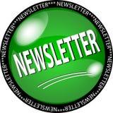 Botón verde del boletín de noticias Fotos de archivo libres de regalías