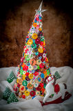 Botón y Pin Christmas Tree hechos a mano Fotos de archivo libres de regalías