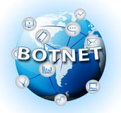 Botnet Illegal Scam Network Fraud 2d Illustration. Shows Computer Cybercrime Hacking And Spyware Privacy Risk stock illustration
