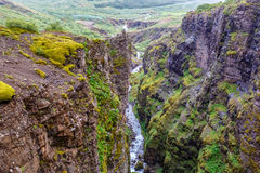 Botnsa river among rocks in Iceland Royalty Free Stock Image