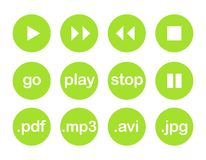 Botão do vetor do jogo ou grupo verde do ícone Foto de Stock