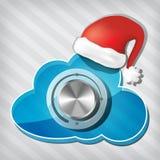 Botão na nuvem da transparência com chapéu de Papai Noel Imagem de Stock Royalty Free