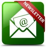 Botão quadrado verde do boletim de notícias Foto de Stock
