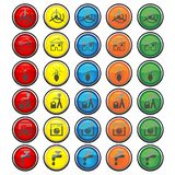 Botoes_eco_01. Vectorial glass buttons with different kind of energy and ecological symbols Stock Photo