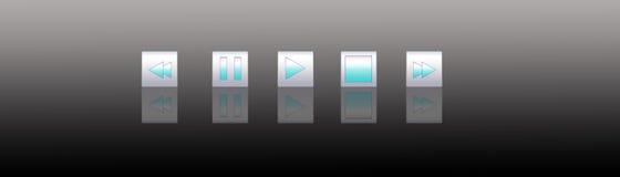Botones 5 del reproductor multimedia Fotos de archivo libres de regalías