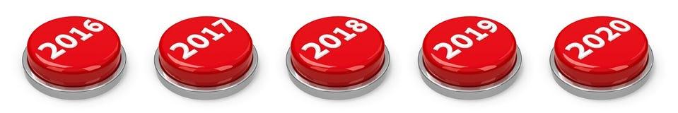 Botones - 2016 2017 2018 2019 2020 Imagen de archivo libre de regalías