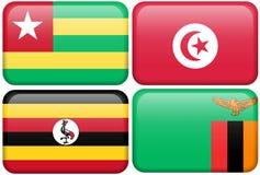 Botones africanos: Togo, Túnez, Uganda, Zambia Imagenes de archivo