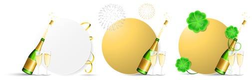 Botones aislados espacio en blanco del vector del Año Nuevo fijados stock de ilustración