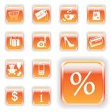 Botones anaranjados brillantes de las compras Foto de archivo