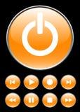 Botones anaranjados del jugador Imágenes de archivo libres de regalías