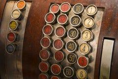 Botones antiguos de la caja registradora Imágenes de archivo libres de regalías