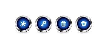 Botones azules brillantes del web del vector ilustración del vector
