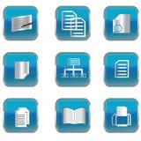 Botones azules con los iconos del azul de la PC Imagen de archivo