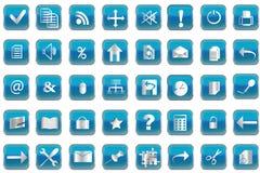 Botones azules con los iconos para la PC Fotos de archivo