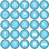 Botones azules con símbolos de la PC Fotografía de archivo