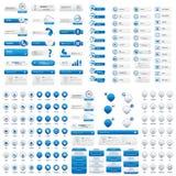 Botones azules del menú y de la ubicación para el sitio web Imagen de archivo