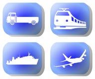 Botones azules del transporte Imagenes de archivo