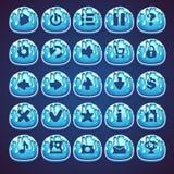 Botones azules determinados para el videojuego del web en mermelada del estilo Imágenes de archivo libres de regalías