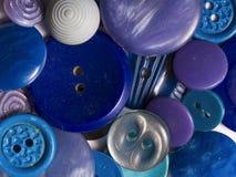 Botones azules viejos Imagenes de archivo