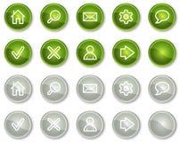 Botones básicos de los iconos del Web, verdes y grises del círculo Imagen de archivo libre de regalías