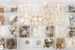 Botones blancos de la cortina Fotografía de archivo