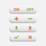 Botones blancos realistas del web del vector Foto de archivo