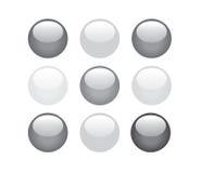 Botones blancos y negros imágenes de archivo libres de regalías