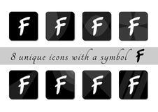 Botones blancos y negros con símbolo Botones blancos y negros abotone el icono iconos negros para el sitio stock de ilustración
