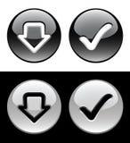 Botones blancos y negros del anillo stock de ilustración